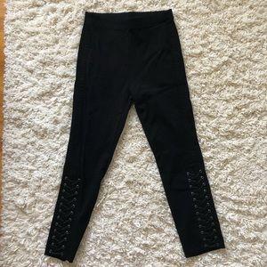 Black Lace-Up Pants